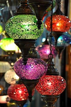 Turkish lanterns.... crackle glass makes a modern look possibly over a kitchen table in the corner of a room.