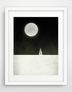Black and White Large Print, Minimalist Poster, Nautical Decor, Sailboat, Moon on Etsy, $32.00