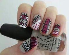 Dark pink and grey aztec nails