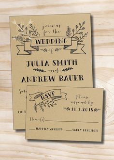 Rustic Wedding Invitation and Response Card / by PaperHeartCompany