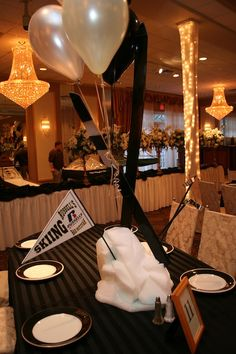 Ski & Snowboard Theme Ideas - Skiing Bar Mitzvah Centerpieces by Life O' The Party - mazelmoments.com