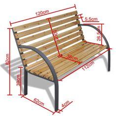 vidaXL Iron Frame Garden Bench with Wood Slats[5/5]