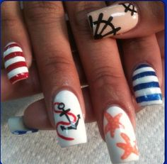 More Sailor Nails... These are just too cute!!! I absolutely LOOOOVVVEEEEE them! :D Sailor Nails, Cruise Nails, Anchor Nails, Nautical Nails, Stripped Nails, Beach Nails, Cute Nail Art, Fabulous Nails, Cute Nail Designs