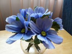 Six Flower Pen Set  Blue Cosmo Daisies and One by GiftCreation, $11.50