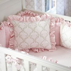 Pink and Taupe Damask Decorative Pillow with Ruffle