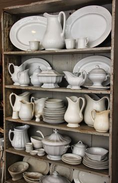 Henhurst Interiors ~ ironstone display Reminds me of my MOTHER.she loved collecting white ironstone. Farmhouse Decor, House Styles, Decor, Red Chair, Home, Interior, Shabby Chic, Home Decor, Ironstone