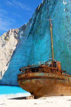 The shipwreck on the Navagio beach in Zakynthos Island, Greece