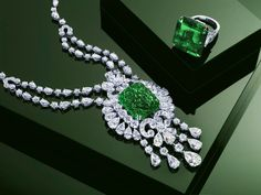 Carved Emerald Necklace and Ring by Graff