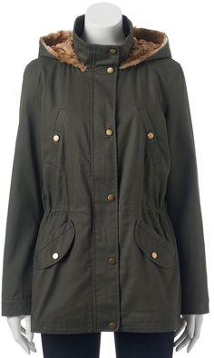 Juniors' Pink Envelope Faux-Fur Hooded Anorak Jacket
