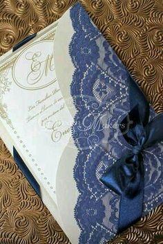 Fabric & paper invitation card + envelope.
