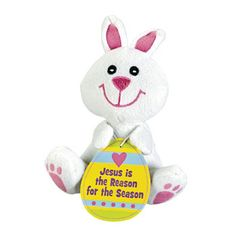 Plush bean bag bunnies orientaltrading my this that jesus is the reason for the easter season plush bunny gift negle Image collections