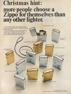 """Vintage Zippo Advertisement from 1966. """"Christmas hint: more people choose a Zippo for themselves than any other lighter"""""""