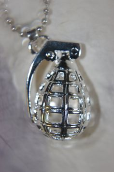 3D Silver-tone Hollow Grenade Pendant w/ Silver-tone Finish Metal Ball Chain Necklace