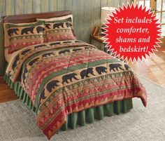 #31711 Northwoods Bear Walk Queen Size Comforter Set by sensationaltreasures