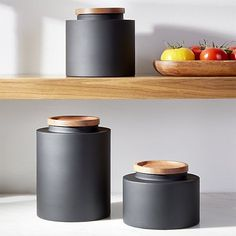 Clark Matte Black Canisters at Crate and Barrel Canada. Black Kitchens, Luxury Kitchens, Cool Kitchens, Retro Kitchens, Crate And Barrel, Kitchen Furniture, Kitchen Decor, Kitchen Ideas, Kitchen Tools