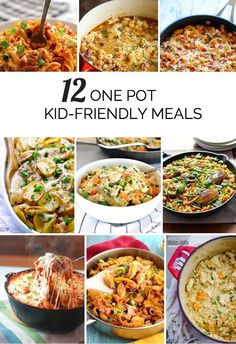 12 tasty one pot meals that kids will love for those days you need to get dinner on the table quickly! one pot dinner, one pot recipes Baby Food Recipes, Dinner Recipes, Healthy Recipes, Pizza Recipes, Breakfast Recipes, Family Meals, Kids Meals, Meals For Children, Family Recipes