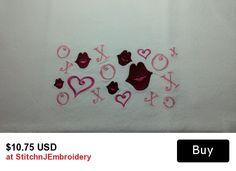 Valentines Hearts White Cotton Kitchen Tea Towel