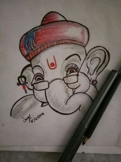 Ideas painting elephant canvas ideas for 2019 Pencil Drawing Images, Abstract Pencil Drawings, Art Drawings Sketches Simple, Art Drawings For Kids, Pencil Drawings Of Girls, Ganesha Drawing, Lord Ganesha Paintings, Ganesha Art, Ganpati Drawing