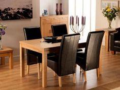 Lombok, 1.2m dining table, dining table, oak, black inlets, oak dining set, oak dining table,