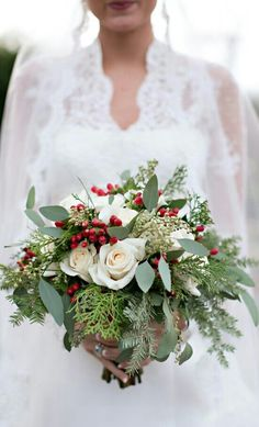 Perfect bouquet for a Christmas wedding.