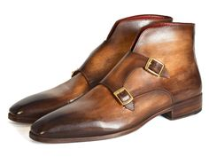 DESCRIPTION: - Men's double monkstrap boots - Brown hand-painted calfskin upper…