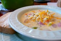 Amazing recipe from MrsMamaHen.com: Cheddar Ham Chowder  I make this quite often!  Never have left overs!