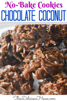 Delicious No-Bake Chocolate Coconut Cookies taste just like an Almond Joy! Don't miss this simple no bake cookie recipe. Chocolate Coconut Cookies, Almond Joy Cookies, Shortbread Cookies, Cake Recipes For Kids, Dessert Recipes, Salad Recipes, Dinner Recipes, Quick Cookies, Yummy Cookies