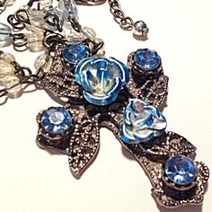 Blue Rhinestone Rose Cross Pendant Necklace Beads (Image1)