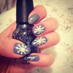 Winter snowflake nails, Essie's boxer shorts as a base with revlon's whimsical and random nail art polishes from quo :) #nails #naildesigns #notd