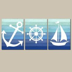 Nautical Wall Art CANVAS or Prints Blue Ombre Wood by TRMdesign