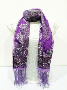 Nepal Hand Made Silky Lace Shawl Scarf Purple