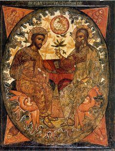 Троица Новозаветная  Мастерская Троице-Сергиева монастыря в Климентьевской слободе.  Первая половина XVII ве