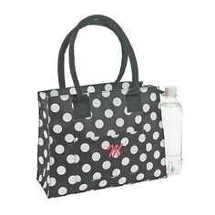 Personalized Black & White Polka Dot Tote - OrientalTrading.com, For the bridesmaids a spa bag.