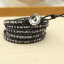 Women bracelet 4 mm round crystal bracelet ,long leather bracelet,crystal  bracelet natural round crystal  beads,36'' long bracelet,ETS-B097