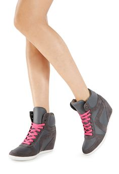 Lace up sneaker wedge with hidden platform and contrast sole. Comes with two sets of laces to mix things up! - skye JF