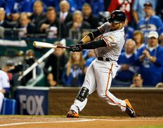 San Francisco Giants outfielder Gregor Blanco (7) hits a solo home run in the first inning of Game 2 of baseball's World Series against the Kansas City Royals at Kauffman Stadium in Kansas City, Mo., on Wednesday, Oct. 22, 2014. (Nhat V. Meyer/Bay Area News Group)