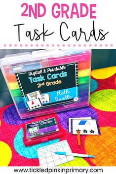 This bundle of task cards will give your students a chance to work on math and reading skills for the entire school year! Included are over 50 sets with more than 1,000 task cards! These make great center activities, which you can make self checking. Each set includes a worksheet to hold students accountable and an answer key. Number Sense Activities, Place Value Activities, Geometry Activities, Math Activities, Second Grade Math, Math Facts, Activity Centers, Addition And Subtraction, Reading Skills