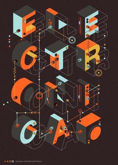 """Electronica"", Poster, - Graphic Lettering Illustration Design by Neil Stevens (b. Typography Layout, Typography Poster, Graphic Design Typography, Lettering Design, Japanese Typography, Design Poster, Art Design, Type Design, Logo Design"