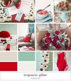inspiration board - turquoise tan ivory red - should be brighter green accent