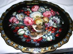 Russian Floral Trays , traditional floral style of Zhostovo,