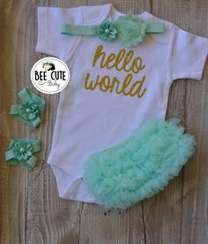 3faaaec17 Items similar to Hello World Newborn outfit ,Girl Coming Home Outfit - Baby  Girl Tutu Mint Bloomer-New Born Headband & Sandals.Perfect Gift for Baby  Shower. ...
