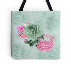#Green&Pink #VintageTeacup&Flowers #ToteBag by #MoonDreamsMusic