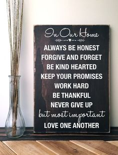 House Rules Sign: In Our Home Wall Art, Handmade in Kona Brown and White, 11x16