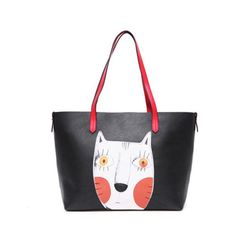 2PCS Cartoon Cat Handbags Print Casual Large Capacity Ladies Shoulder Bag