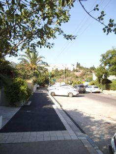 Part of street`s  pavement got renewed & look towrads Ramat Alon .  photo mirjam Bruck-Cohen