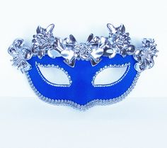 Venetian Mask - Masquerade Mask - Rhinestone Embellished, Fabric Covered With Metallic Flowers - Silver / Blue Mask via Etsy.