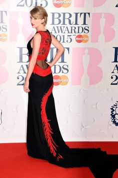 Pin for Later: The Brit Awards Red Carpet Was More Glamorous Than Ever This Year Taylor Swift Taylor's dragon-embellished Roberto Cavalli Atelier dress was all about the back reveal!