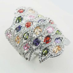 Beileth Sterling Silver Plated Rings Amethyst Emerald simulated Garnet Morganite Sapphire simulated