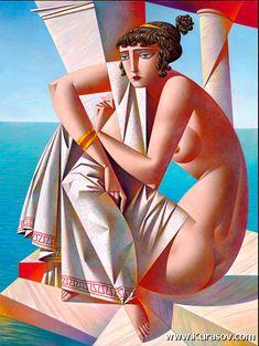Artist Georgy Kurasov, the painter, the sculptor Cubist Artists, Cubist Paintings, Modern Art, Contemporary Art, Russian Art, Pulp Art, Art Plastique, Figure Painting, Oeuvre D'art