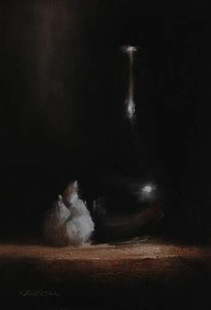 Neil Carroll Original Oil Painting Still Life Bud Vase with Garlic